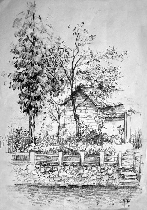 风景速写作品-专业武汉美术培训就来武汉求索画室